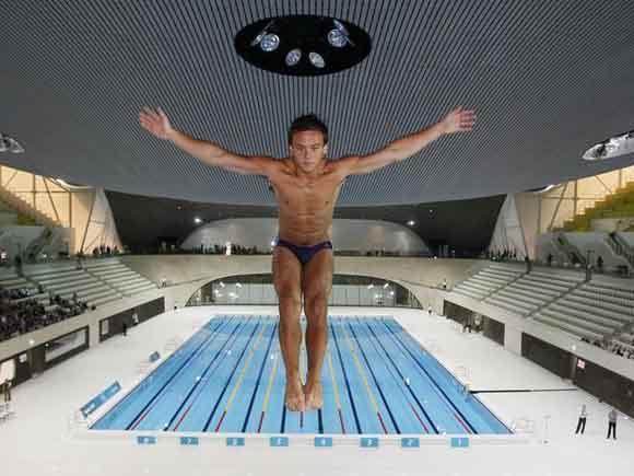 Tom Daley, el día de la inauguración de la piscina olímpica de Londres 2012