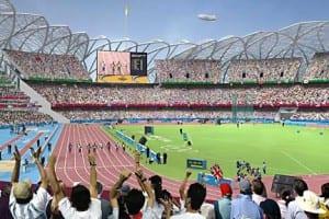 Recreación del estadio olímpico en la final de los 100 metros lisos