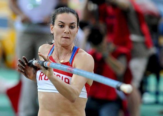 La rusa Yelena Isinbayeva en los Mundiales de Doha