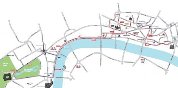 Mapa de la maratón de los Juegos Olímpicos de Londres 2012