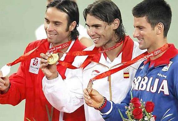 Rafa Nadal, Fernando González y Novak Djokovic