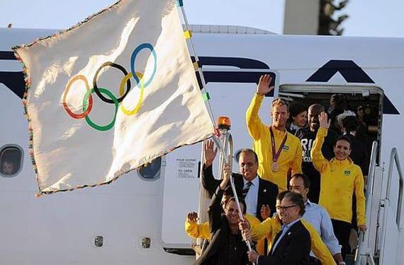Llegada de la bandera olímpica a Río